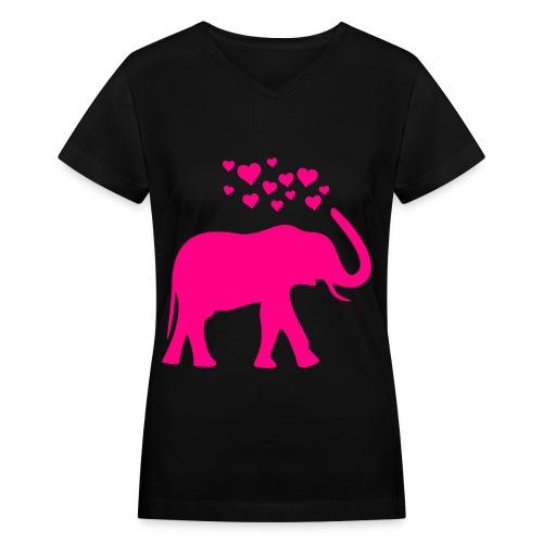 Elephant Love - Women's V-Neck T-Shirt