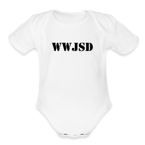 Baby WWJSD One Piece White - Organic Short Sleeve Baby Bodysuit