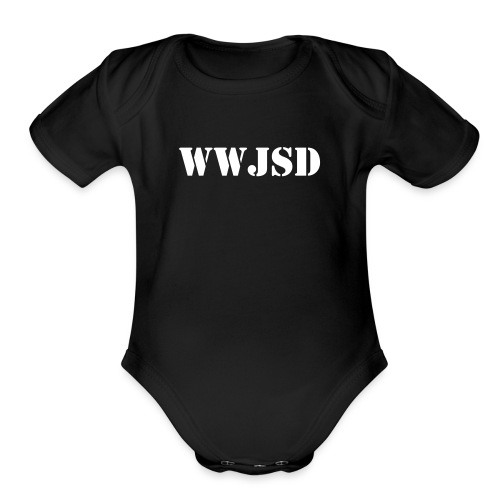 Baby WWJSD One Piece Black - Organic Short Sleeve Baby Bodysuit