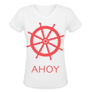 Ahoy V-Neck (Red) - Women's V-Neck T-Shirt