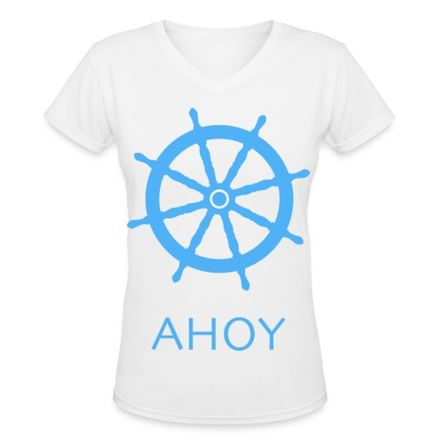 Ahoy V-Neck (Blue) - Women's V-Neck T-Shirt