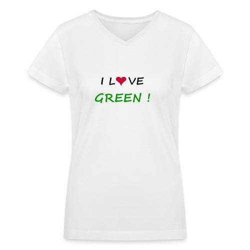Women's V-Neck T-Shirt - women,t-shirt,planete,green,fun,ecology