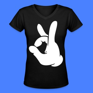 Rock Out Hand Women's T-Shirts - stayflyclothing.com - Women's V-Neck T-Shirt