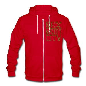 funny Vegas sex and Sin City zip hoodie - Unisex Fleece Zip Hoodie by American Apparel