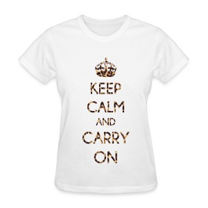 KEEP CALM AND CARRY ON LEOPARD PRINT - LADIES TSHIRT - Women's T-Shirt