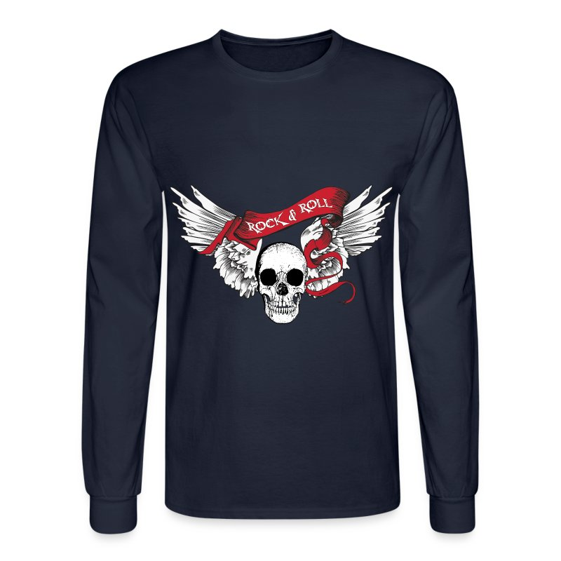 Rock n roll skull wings t shirt spreadshirt for Rock and roll shirt shop