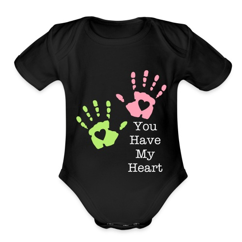 Baby's One Piece, You have my heart in the psalms of your hands. - Organic Short Sleeve Baby Bodysuit
