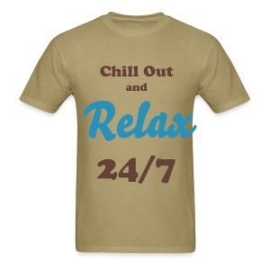 Chill Out and Relax 24/7 flock print T-Shirt text - Men's T-Shirt