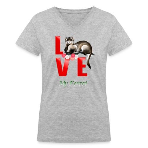 Love Ferret - Women's V-Neck T-Shirt