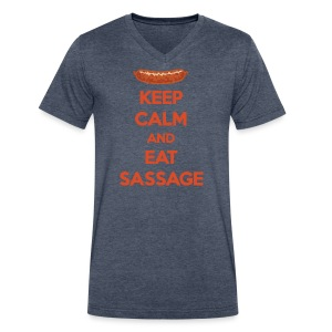 Keep Calm And Eat Sassage - Men's V-Neck T-Shirt by Canvas