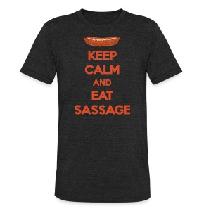 Keep Calm And Eat Sassage - Unisex Tri-Blend T-Shirt by American Apparel