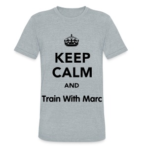 Keep Calm, TrainWithMarc - Unisex Tri-Blend T-Shirt by American Apparel