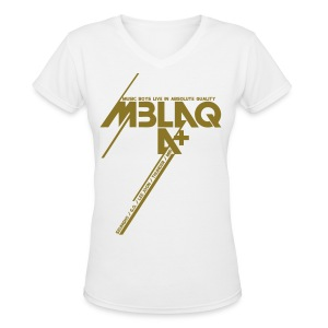 [MBLAQ] Diagonals (metallic gold) - Women's V-Neck T-Shirt