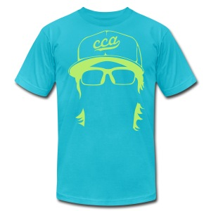 The Setup Man Tee - Neon Green on Turquoise - Men's T-Shirt by American Apparel