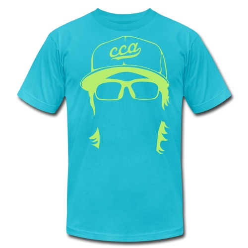 The Setup Man Tee - Neon Green on Turquoise - Men's Fine Jersey T-Shirt