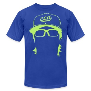 The Setup Man Tee - Neon Green on Royal - Men's T-Shirt by American Apparel