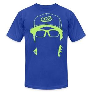 The Setup Man Tee - Neon Green on Royal - Men's Fine Jersey T-Shirt