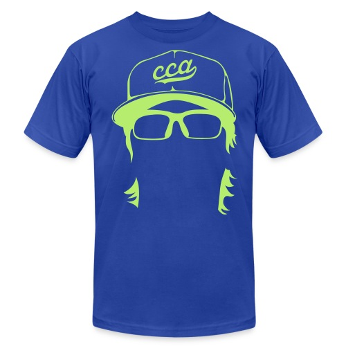 The Setup Man Tee - Neon Green on Royal - Men's Fine Jersey T-Shirt