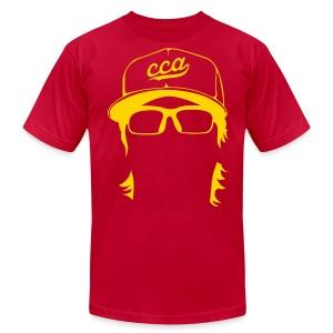 The Setup Man Tee - Gold on Red - Men's Fine Jersey T-Shirt