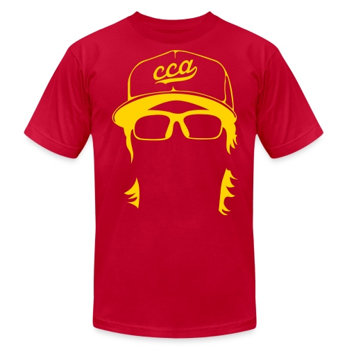 The Setup Man Tee - Gold on Red - Men's Fine Jersey T-Shirt