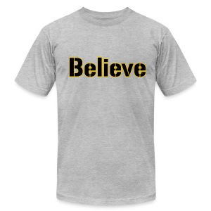 Believe Football Mens American Grey - Men's T-Shirt by American Apparel