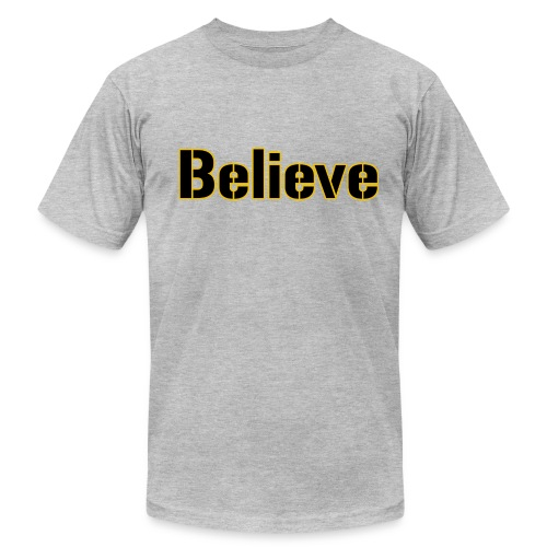 Believe Football Mens American Grey - Men's Fine Jersey T-Shirt