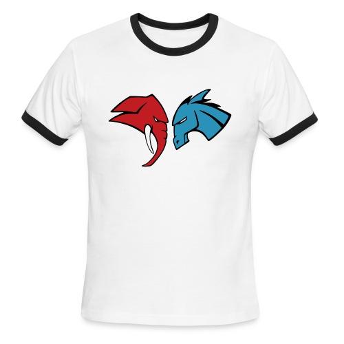 The Red Elephant vs. The Blue Donkey - Men's Ringer T-Shirt