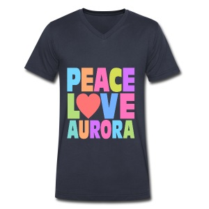 Peace Love Aurora - Men's V-Neck T-Shirt by Canvas