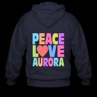 Zip Hoodies & Jackets ~ Men's Zip Hoodie ~ Peace Love Aurora