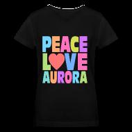 Women's T-Shirts ~ Women's V-Neck T-Shirt ~ Peace Love Aurora