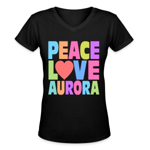 Peace Love Aurora - Women's V-Neck T-Shirt
