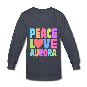Peace Love Aurora - Kids' Long Sleeve T-Shirt
