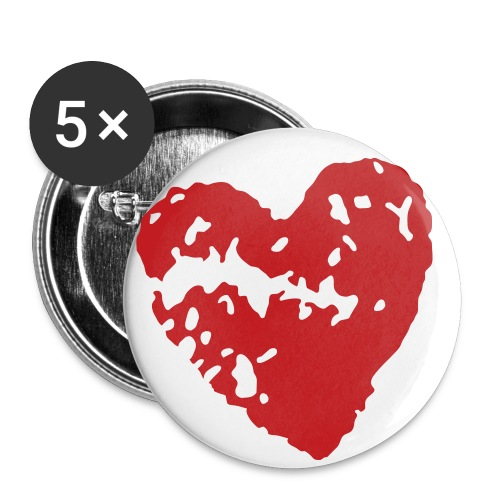 Broken Heart 2 1/4 Buttons - Lot of 5 (Red) - Buttons large 2.2'' (5-pack)