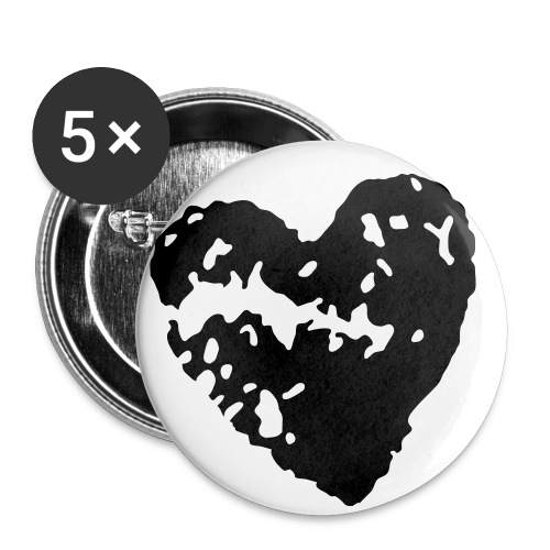 Broken Heart 2 1/4 Buttons - Lot of 5 (Black) - Buttons large 2.2'' (5-pack)