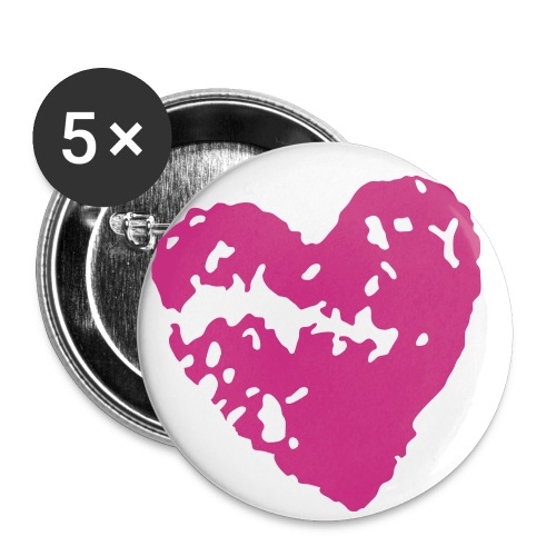 Broken Heart 2 1/4 Buttons - Lot of 5 (Pink) - Buttons large 2.2'' (5-pack)