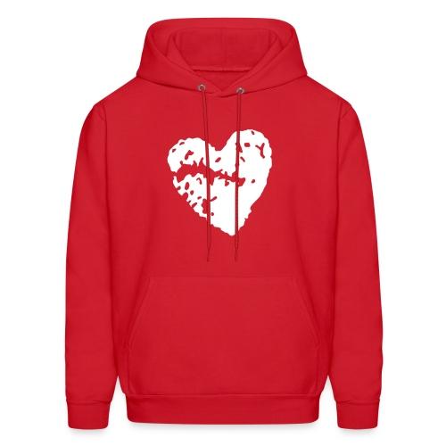 Broken Heart Hoodie - Red - Men's Hoodie