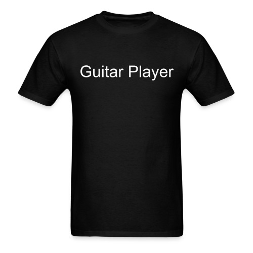 guitar player text tee  -  white on black - Men's T-Shirt