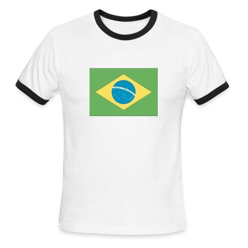 Brasil Flag Ringer Tee - Men's Ringer T-Shirt