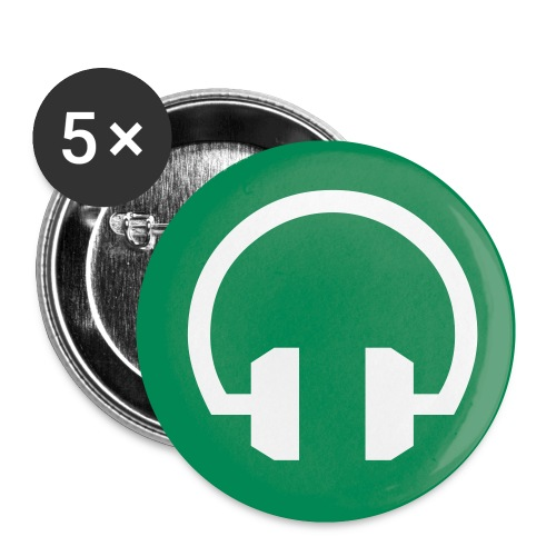 Green Headphone Button - Buttons small 1'' (5-pack)