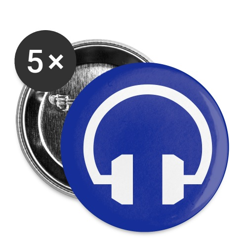 Blue Headphone Button - Buttons small 1'' (5-pack)