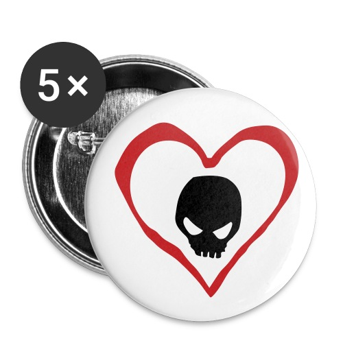 Inebreation heart Skull - Buttons small 1'' (5-pack)