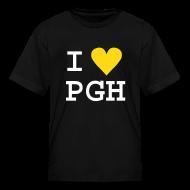 Kids' Shirts ~ Kids' T-Shirt ~ Kids T-shirt Black w/ Fuzzy White Text, Gold Fuzzy Heart