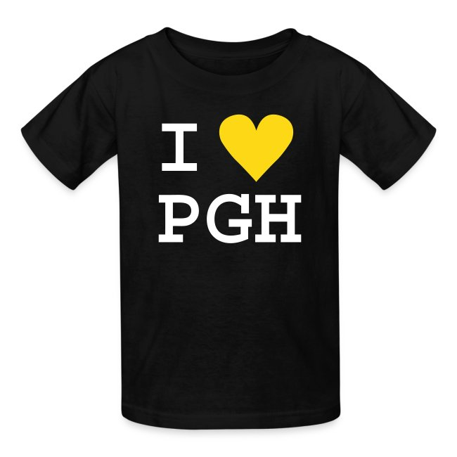 Kids T-shirt Black w/ Fuzzy White Text, Gold Fuzzy Heart