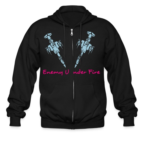 EUF FighterJet - Pink/Blue Zip-Up - Men's Zip Hoodie