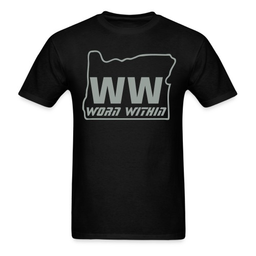 WW Oregon tee black with silver writing - Men's T-Shirt