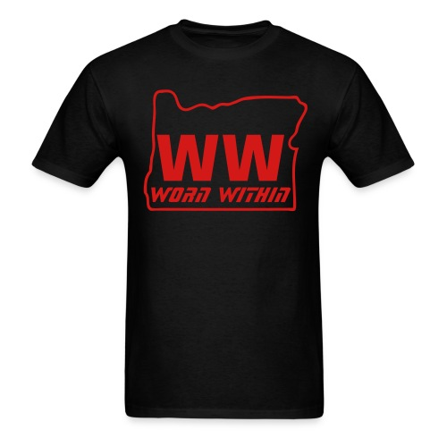 WW Oregon tee black with red writing - Men's T-Shirt
