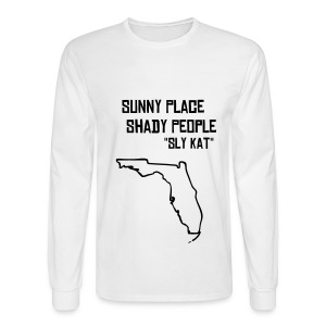 Men's Long Sleeve T-Shirt - Long sleeve white shirt. Sunny Place Shady People in back print.