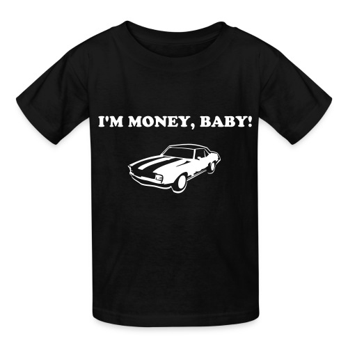 KoolKidsTees 'I'm money, baby with vintage car' toddler and youth t-shirt in black - Kids' T-Shirt