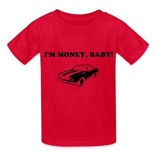 KoolKidsTees 'I'm money, baby with vintage car' toddler and youth t-shirt in red - Kids' T-Shirt
