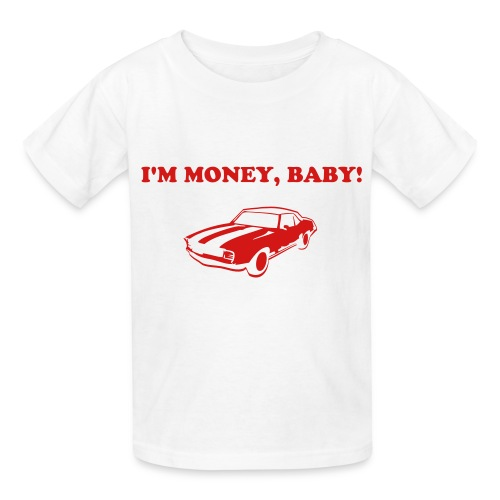 KoolKidsTees 'I'm money, baby with vintage car' toddler and youth t-shirt in white - Kids' T-Shirt